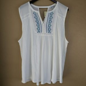 Lucky Brand Embroidered Pintuck Top